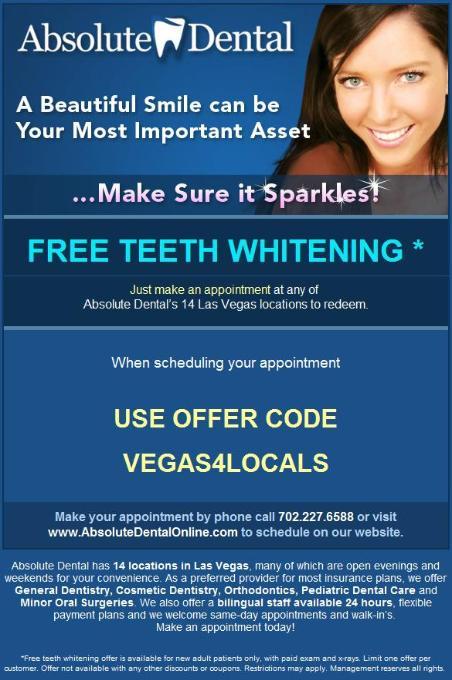 Absolute Dental Las Vegas Coupon - Free Teeth Whitening