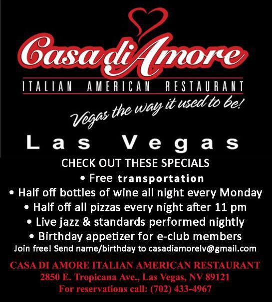 Coupon Casa Di Amore Italian American Restaurant Las Vegas