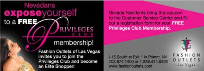 Fashion Outlets of Las Vegas Privileges Club Coupon