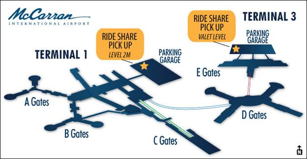 Ride Share Uber Lyft From The Las Vegas Mccarran International: Las Vegas Airport Terminal 3 Map At Infoasik.co