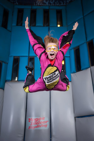 Smiling girl at Vegas Indoor Skydiving