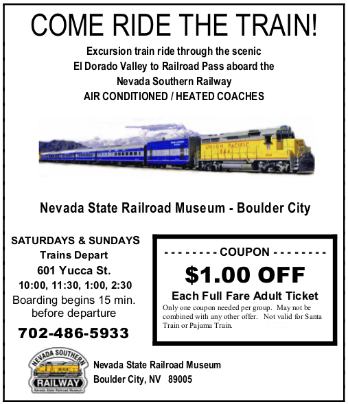 Nevada Southern Railway Coupon Boulder City Train Ride