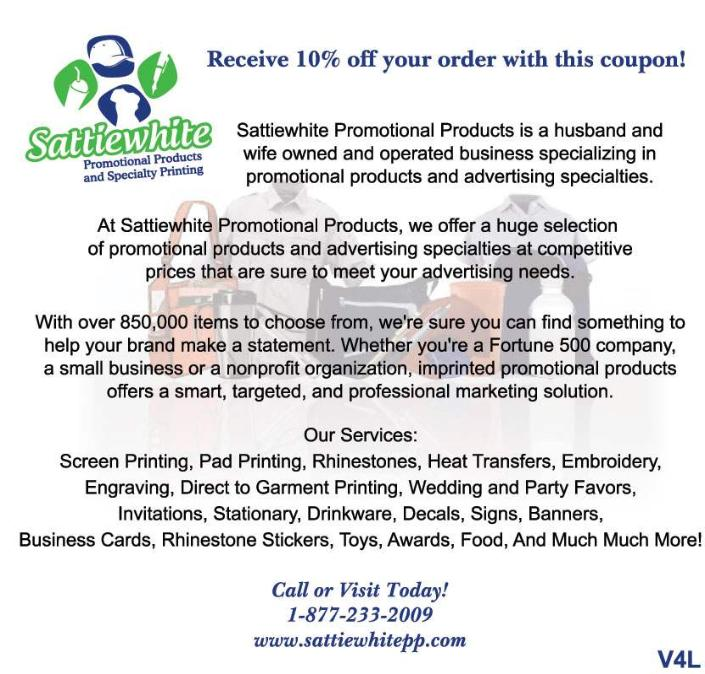 Use this Sattiewhite Promotional Products Coupon to save 10% off on any order of promotional products. Locally based in Henderson / Las Vegas.
