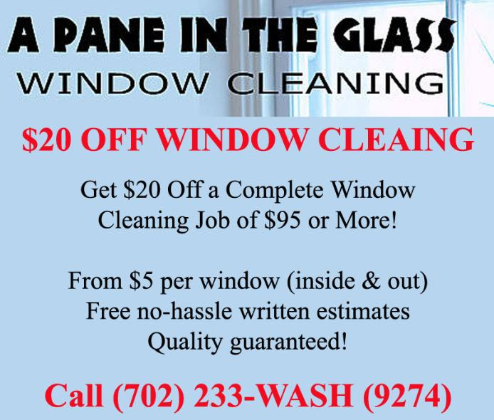 Las Vegas Window Cleaning Coupon - A Pane in the Glass Las Vegas Henderson Summerlin